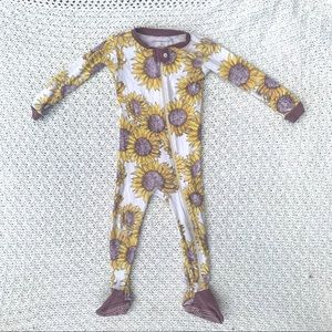 Burts bees baby sunflower onesie zip up footed